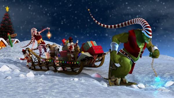 Горящие команда доставка Санты HD обои, быстрая доставка подарков
