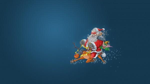 HD обои, Санта-Клаус, олени, эльф, полет, лицо, маски, рождество, злодеи