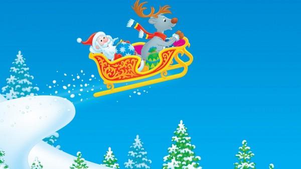 Новый год, рождество, дед мороз, олень, полет, обои, фоны, скачать