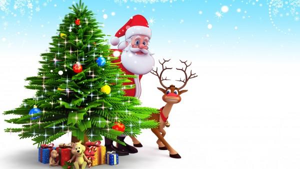 Елка, картинки, Санта-Клаус, фоны, Новый год, олененок, обои, рождество, настроение
