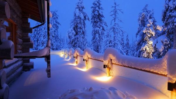 Зима, огни, дом, обои для рабочего стола