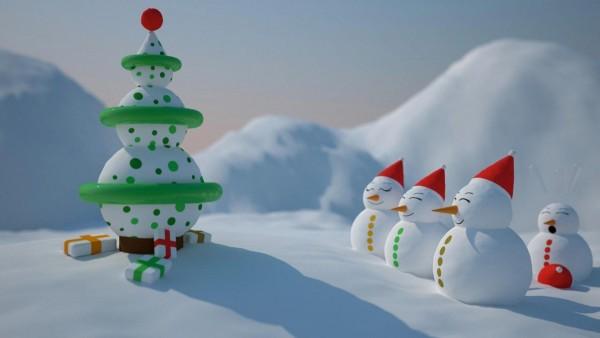 Скачать Снеговики смотрят на елку