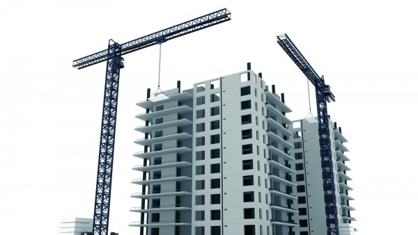 3D кран и макет здания стройка обои