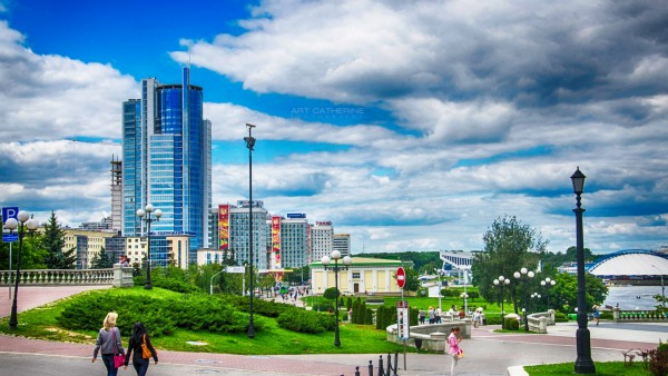 Минск, Беларусь, Немига, небо, картинки, обои