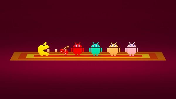 Apple пытается съесть Android логотипы