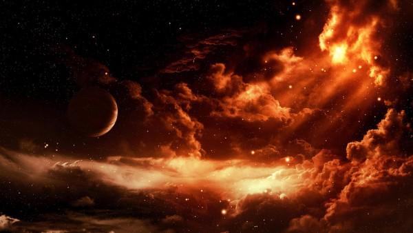 Красное небо, космос обои