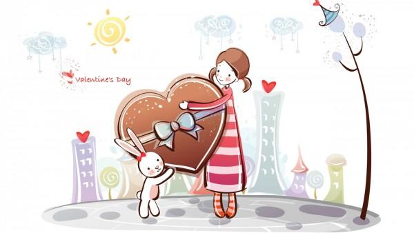 Девочка и кролик большой подарок Сердце