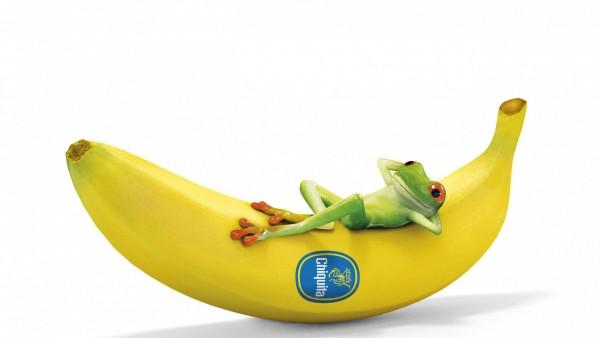 Лягушка спит на банане