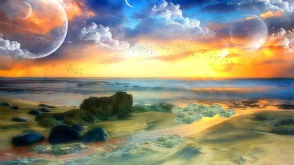 Планеты, отражающиеся в море