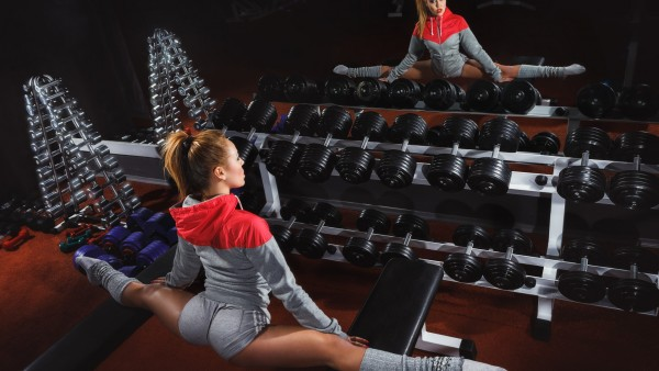 woman, fitness, gym, elongation, pose, mirror, dumbbells, physical activity
