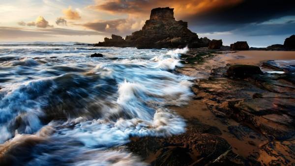 Пляж, Скалы, Бесплатные фона