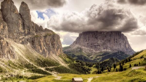 HD горы, облака, пейзажи, природа, вулканы, широкоформатные обои