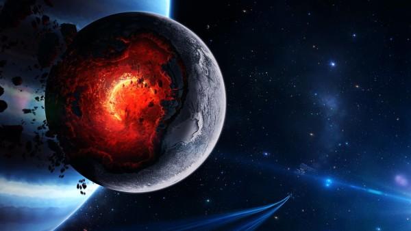 планета, ядро, огонь, космос, заставки