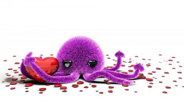 Симпатичная игрушка осьминога и сердца