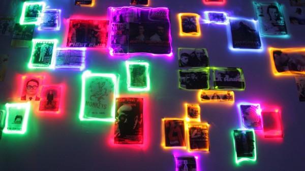 Бойцовский клуб, абстрактный узор, неоновые картинки, коллаж,