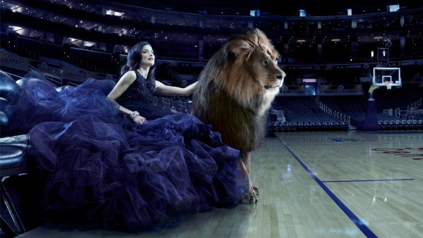 Красивая девушка и лев на площадке картинки