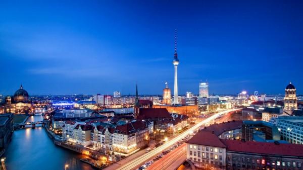 Берлин, Александерплац, германия, вечер, ночь