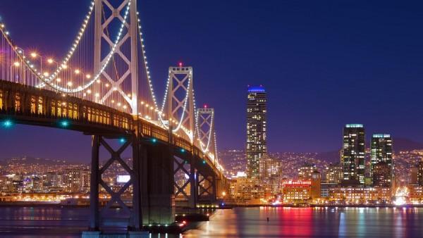 город, мост, фонари, фото