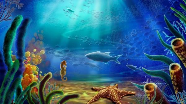 мультфильм, вектор, океан, рыбы