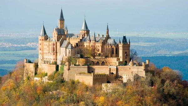 Замок, гогенцоллерн, осень, природа