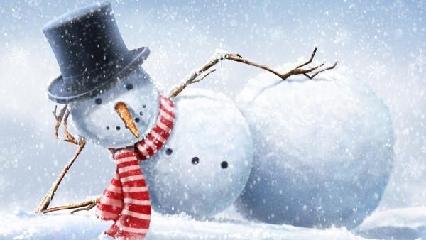 Прикольный снеговик обои