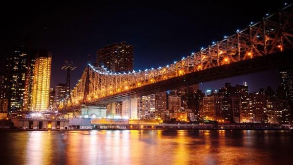 Мост Куинсборо ночью Мост в Нью-Йорке широкоформатные обои