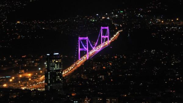 город, небо, здание, ночь, архитектура, мост