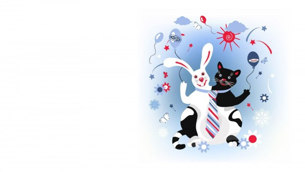Free cat and rabbit Widescreen