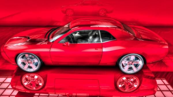 Dodge Charger на красном фоне