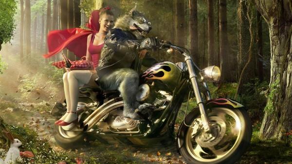 Современная Красная Шапочка и волк