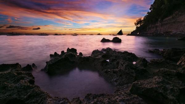 Прибрежный морской закат, обои море