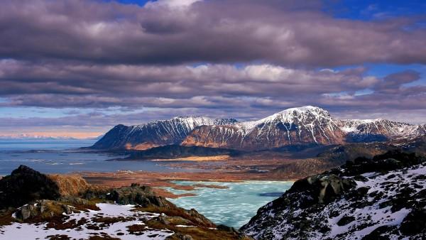 Природа, пейзажи, горы, небо, облака, берег, снег, Зимний сезон