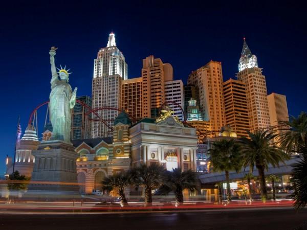 night, las vegas, new york, ночь, Лас-Вегас, Нью-Йорк