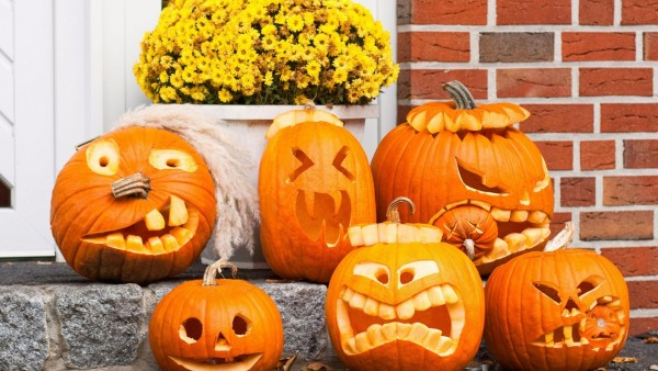 wallpaper, pumpkin, funny, faces, Halloween