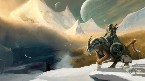 зима, рыцарь, обои, снег, горы, луна