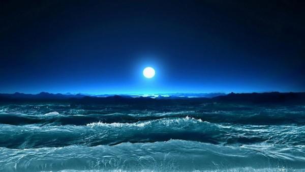 шторм, волны, море, луна, ночь, искусство
