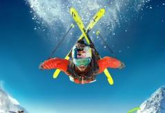 крутые лыжи, небо, горные лыжи, Red Bull, Ред Булл, экстрима�…