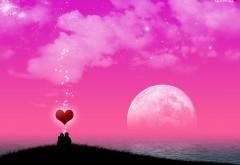 Сердце на фоне розовой луны