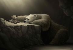 Грустная белая медведица