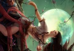 Фэнтези девушка на фоне луны картинки на рабочий стол