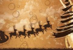 Раждественские фоны Санты клауса и оленей в санях обои hd