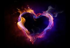 Любовь, романтика, пламя, сердце, HD обои, скачать