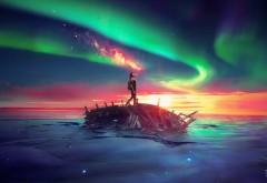 Древний, Будущее, небо, море, сияние, природа, картинки