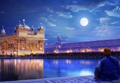 Хармандир-Сахиб, Амритсар, Пенджаб, Индия, ночь, луна