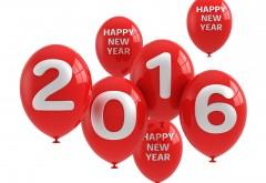 2016, новый год, красные шары, шарики, фон