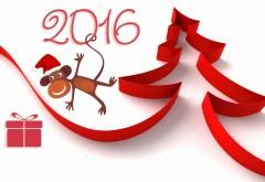 год Огненной Обезьяны, 2016, елка, обезьяна, фон