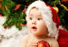 милый очаровательный ребенок Санта HD обои