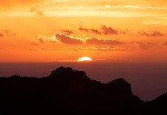Канарские острова, закат, горы, море