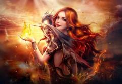 Скачать Дракон огня Fantasy Girl HD Широкоформатный обои