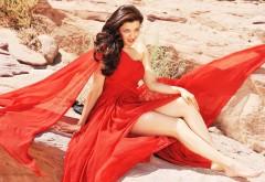 Каджал Агарвал, Kajal Aggarwal, горячие обои, красное платье, �…